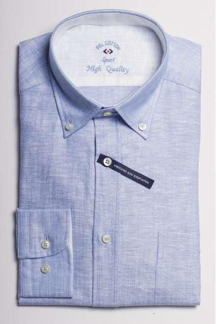camisa lino azul medio