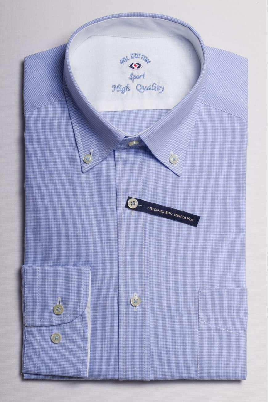 camisa microcuadro azul medio