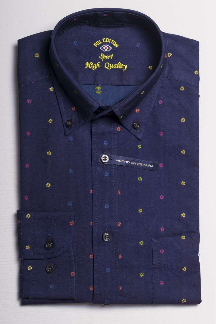 camisa falso denim marino printed flores colores