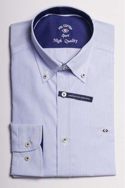 camisa microraya azul marino