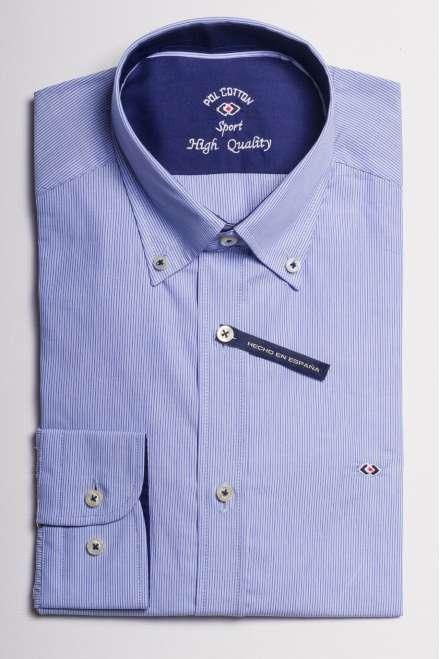 camisa microraya azul medio