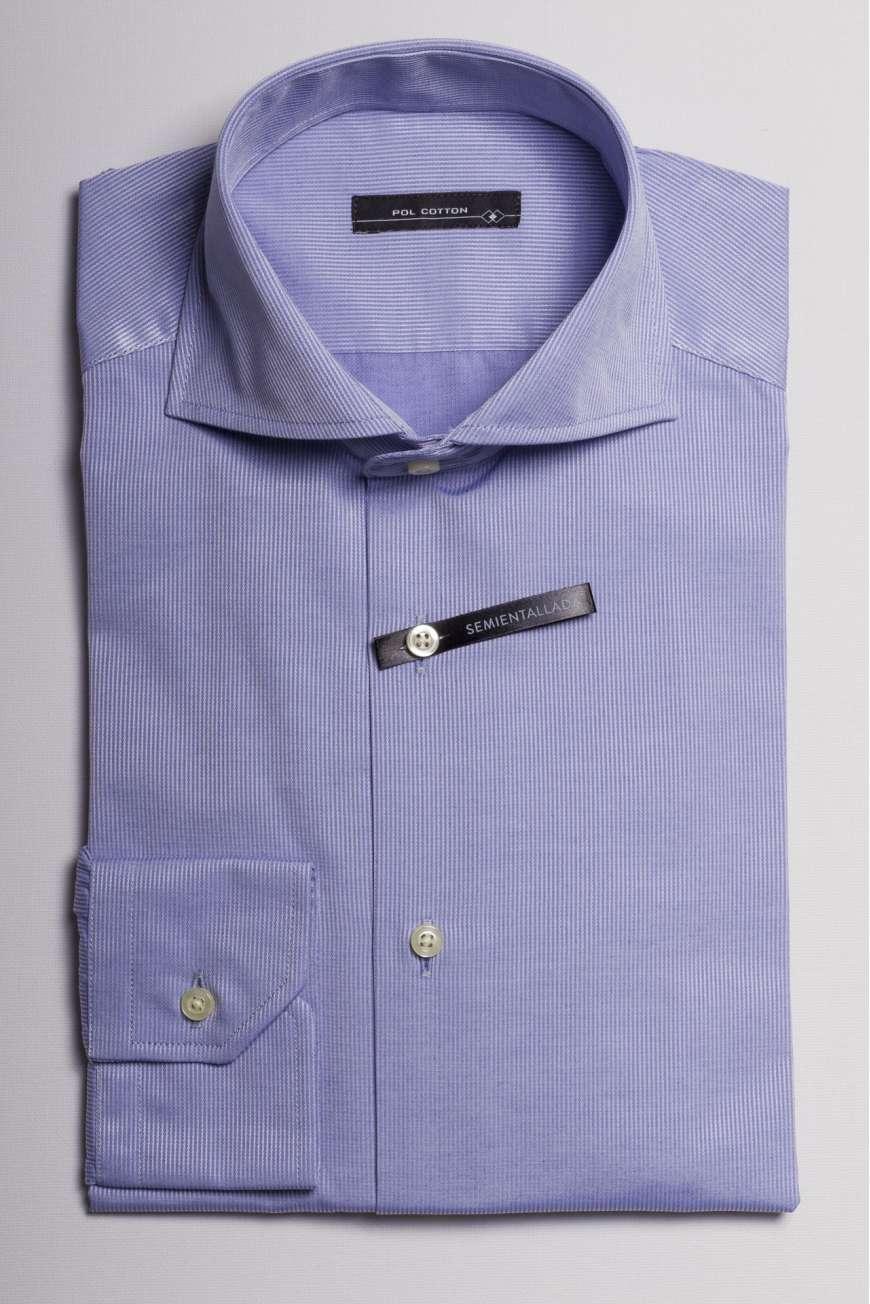 camisa cuello italiano microraya