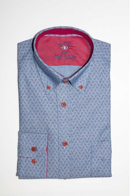 ÍNDIGO OXFORD ESTAMPADO ANCLAS