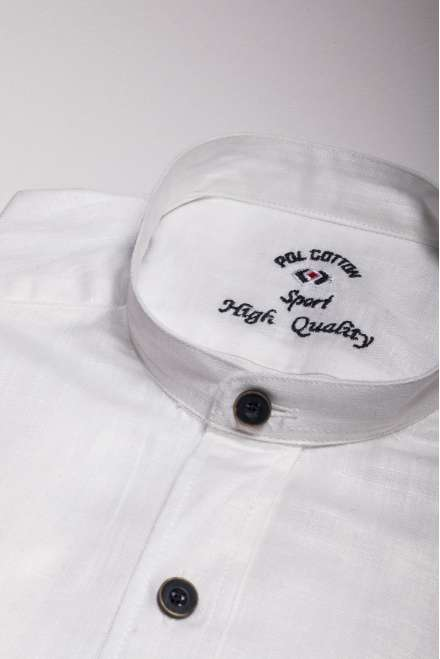 Plana algodón/lino blanco