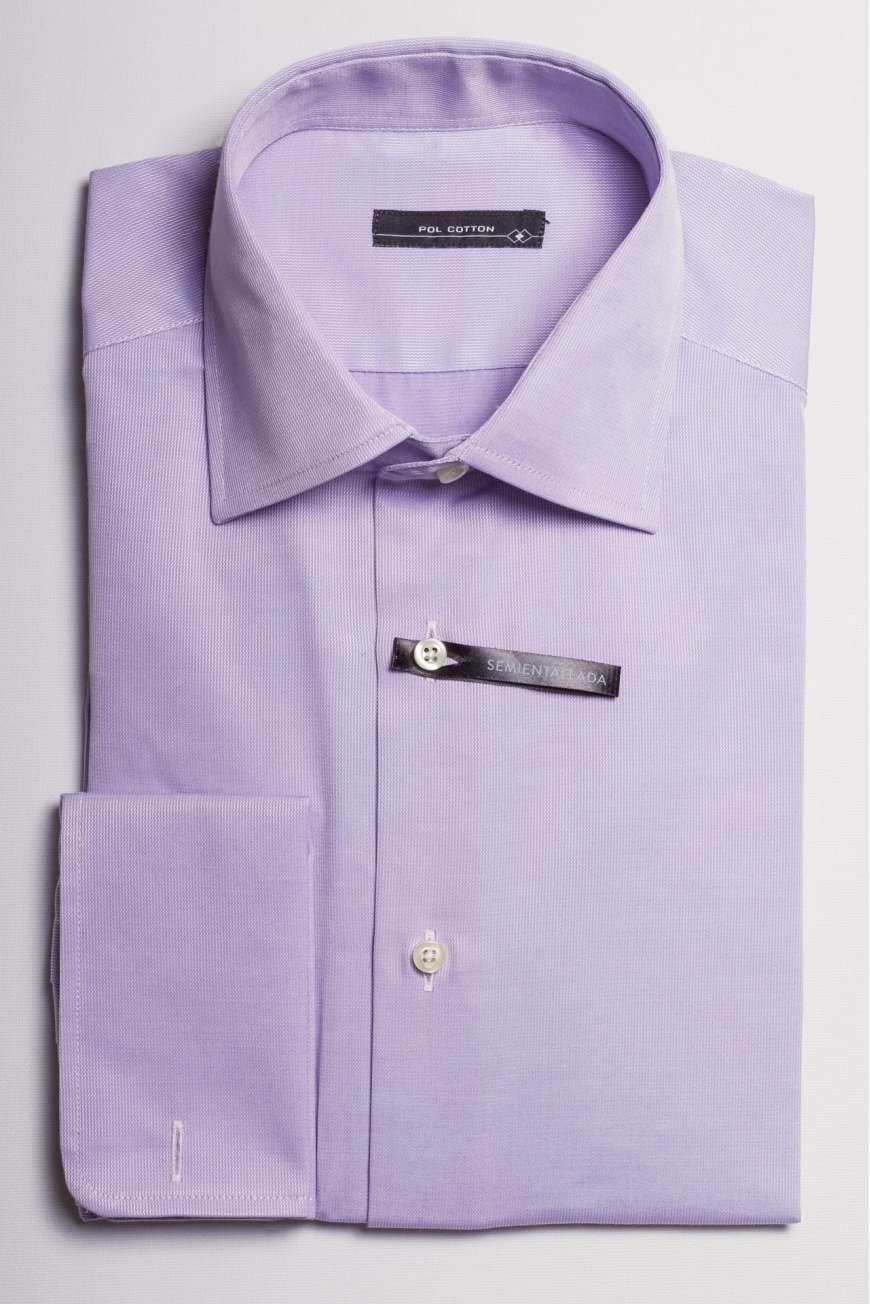camisa cuello regular puño doble microdibujo
