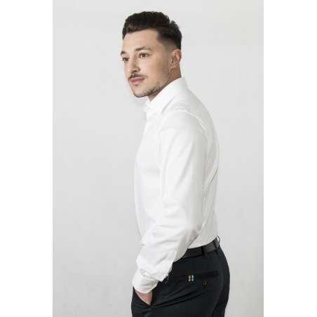 Camisa de vestir cuello y puño clásico blanco semientallada