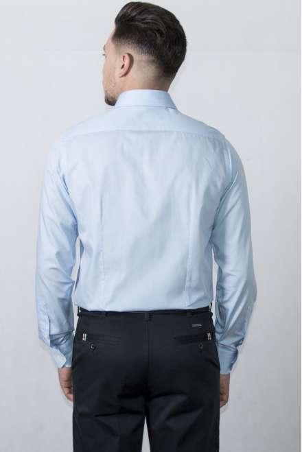 Camisa vestir cuello y puño clásico microraya azul semientallada