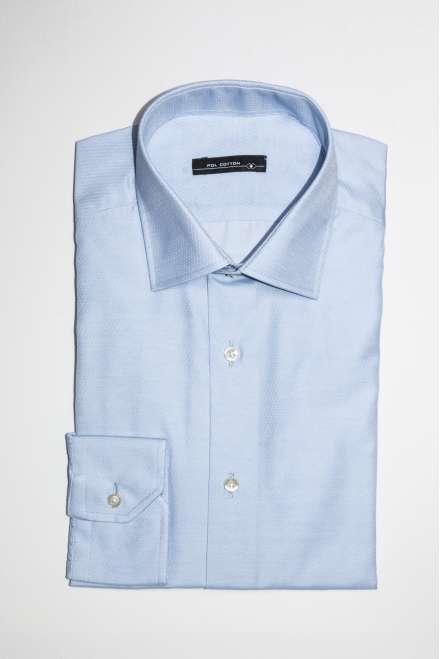 Camisa vestir puño y cuello clásico semientallada microdibujo azul