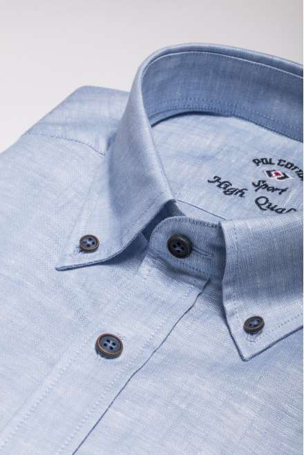Plana algodón/lino azul cielo