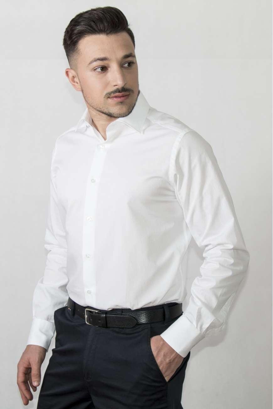 Camisa vestir cuello y puño clásico blanco micropunto semientallada