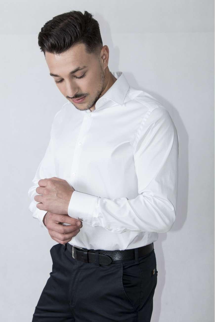 Camisa vestir Confort line blanco microraya cuello y puño clásico
