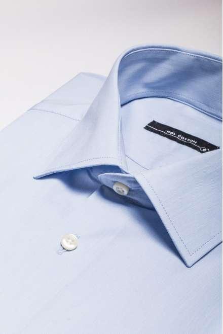 Camisa cuello clásico puño doble Confort Line azul claro