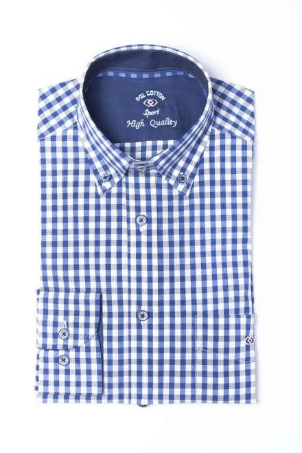 Camisa cuadro vichy azul/gris