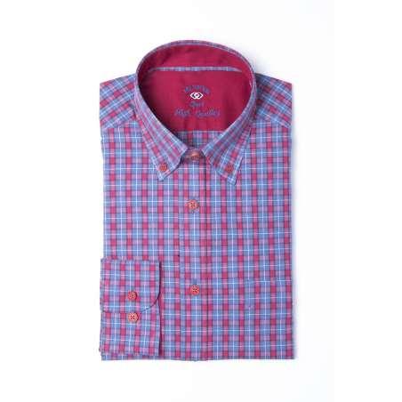 Camisa tartán azul/grana