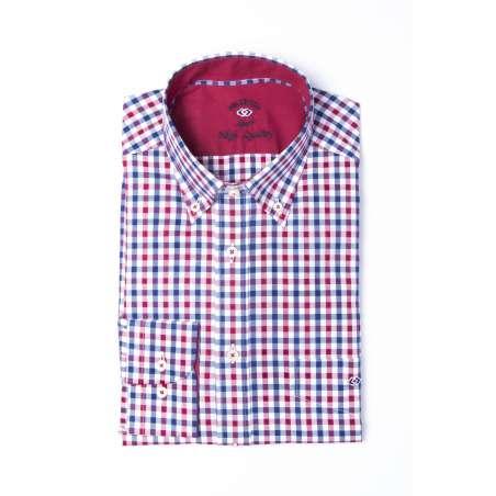 Camisa cuadro vichy azul/grana
