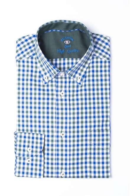 Camisa cuadro vichy azul/verde