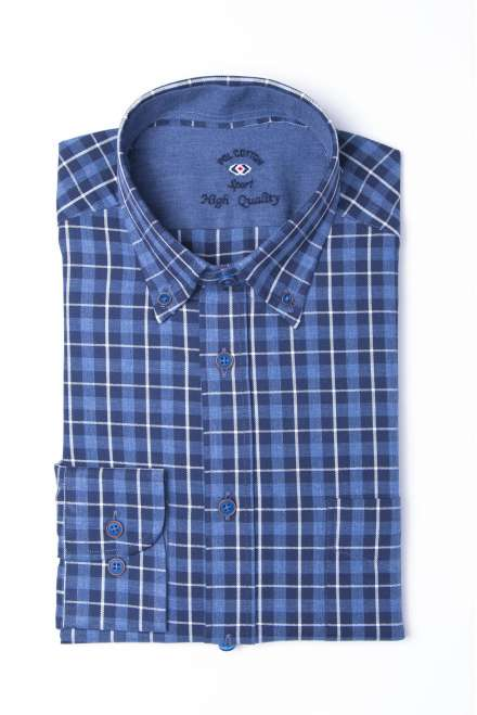Camisa tartán button down azul