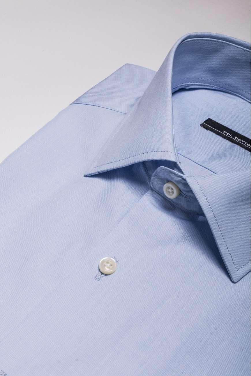 Camisa vestir cuello y puño clásico semientallada azul claro fil&fil