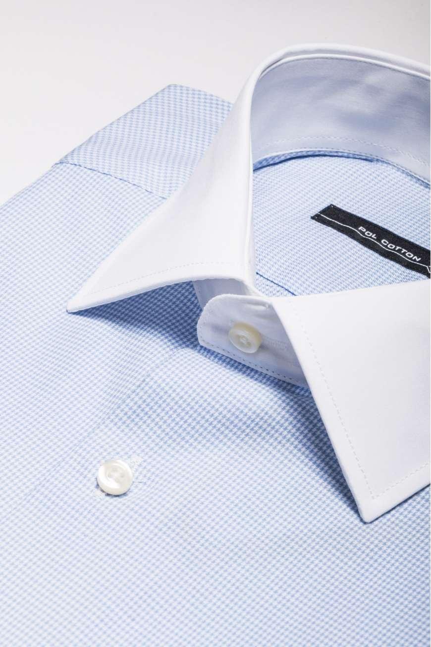 Camisa vestir cuello y puño blanco azul microcuadro