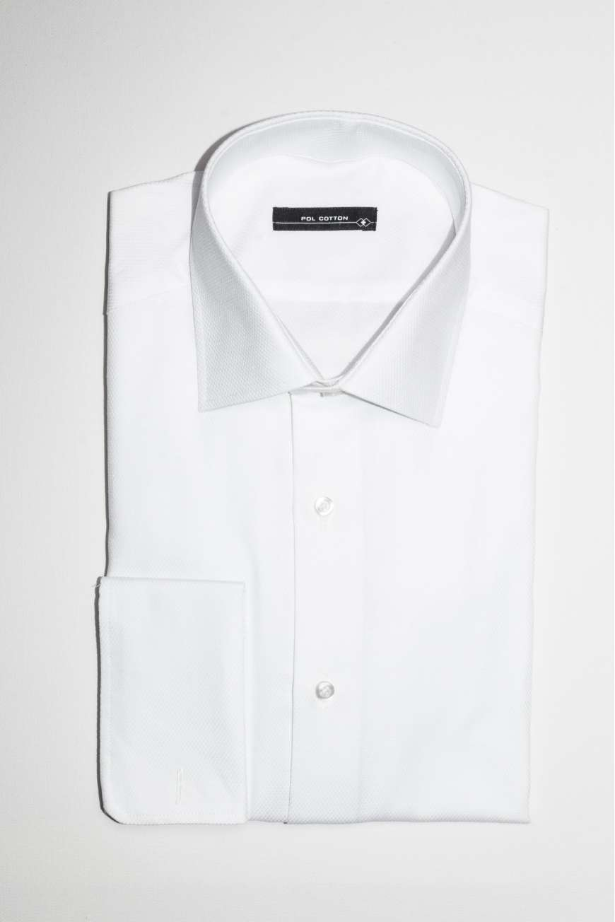 Camisa vestir cuello clásico puño doble blanco microdibujo