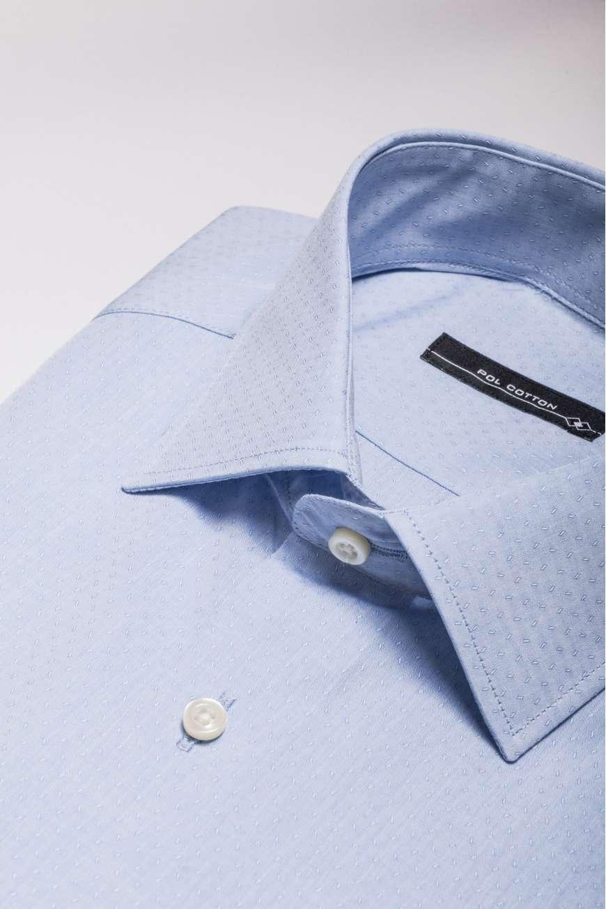 Camisa vestir cuello clásico puño doble azul claro micropunto
