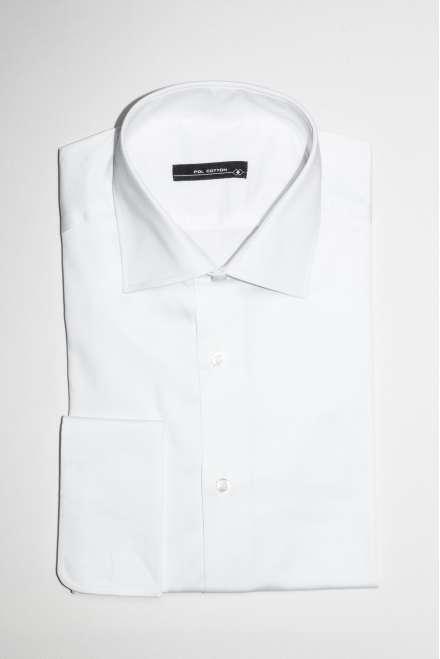 Camisa vestir cuello clásico puño doble blanco satén