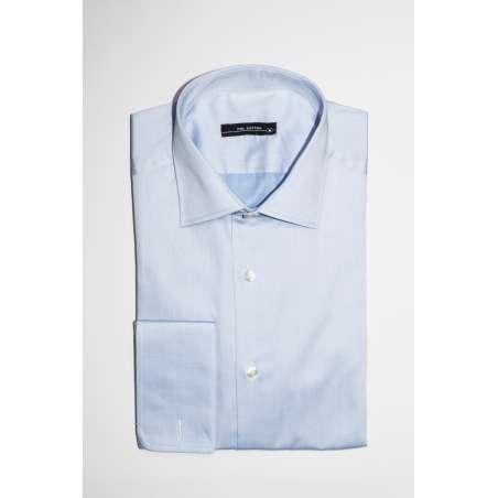 Camisa de vestir cuello clásico puño doble azul satén