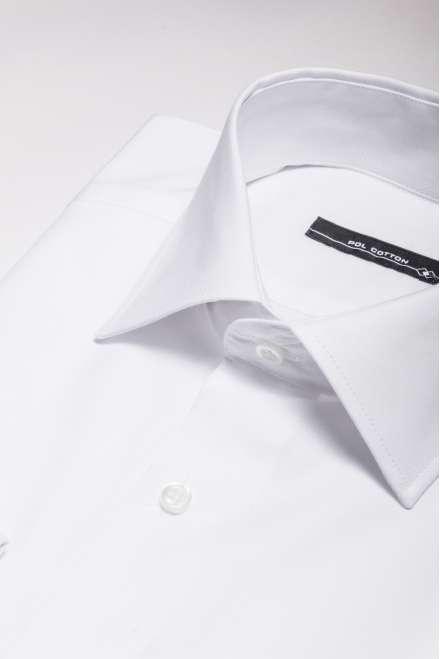 Camisa vestir cuello clásico puño doble blanco