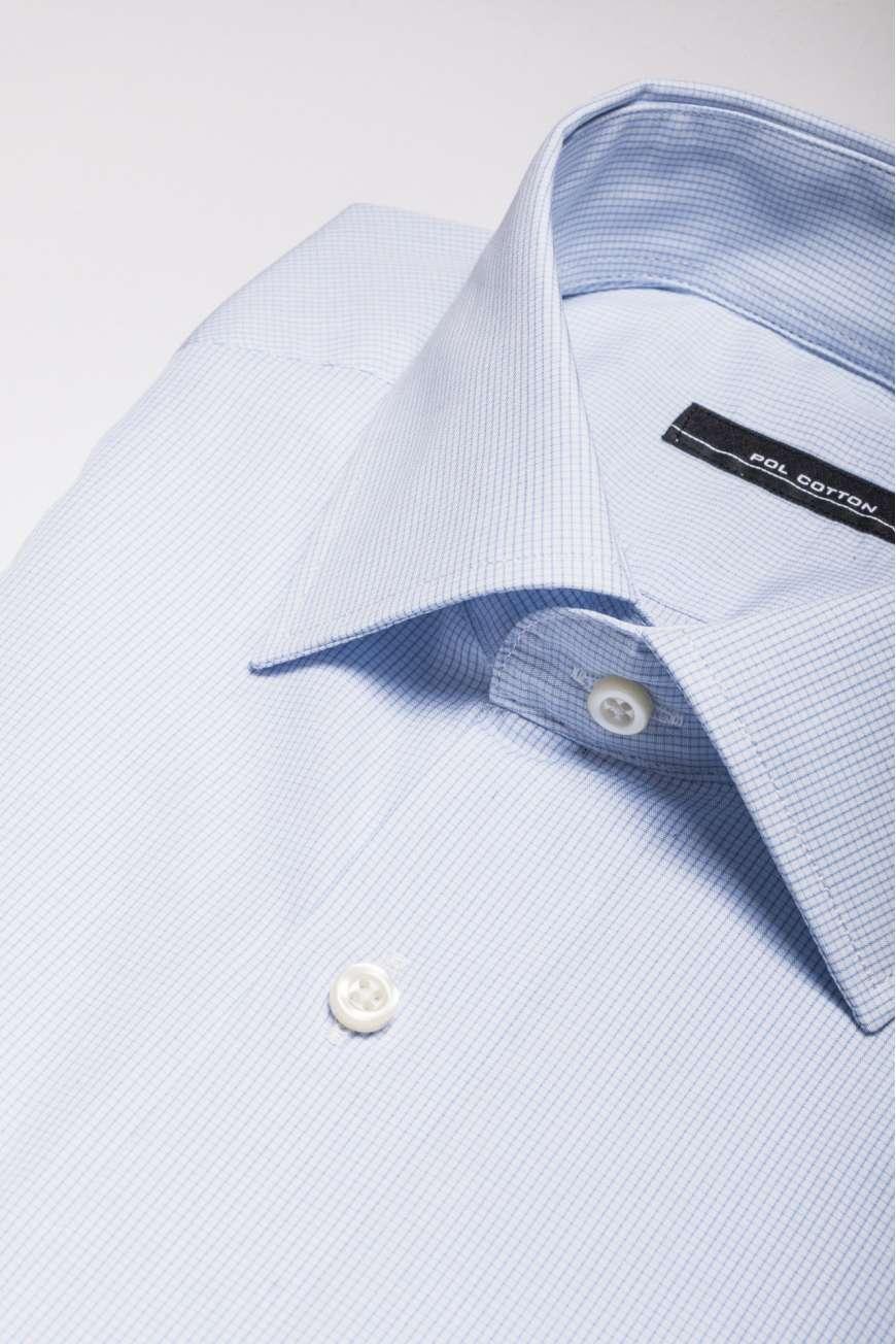 Camisa vestir cuello clásico puño doble azul micro cuadro