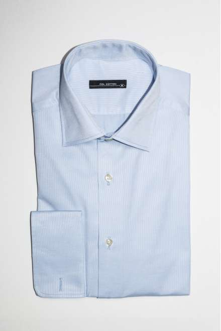 Camiosa de vestir cuello clásico puño doble azul claro