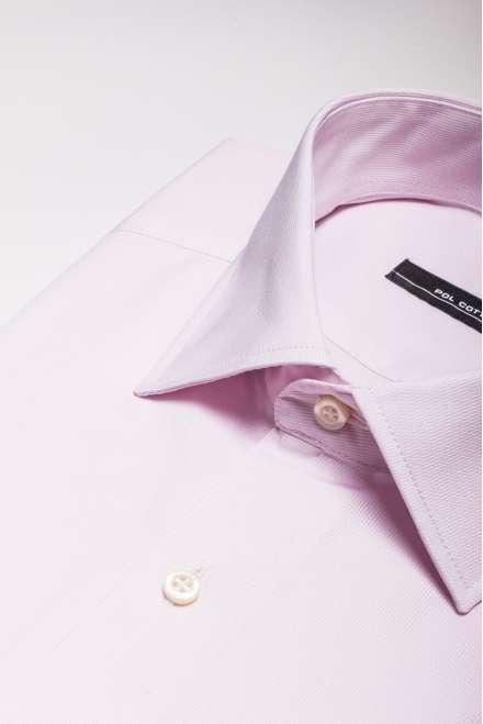 Camisa vestir cuello clásico puño doble rosa