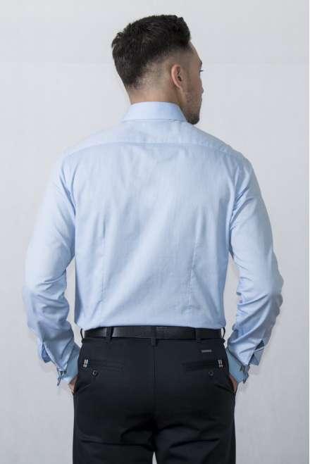 Camisa vestir cuello clásico puño doble azul claro