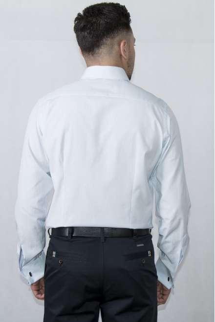 Camisa vestir cuello clásico puño doble blanco micropunto azul