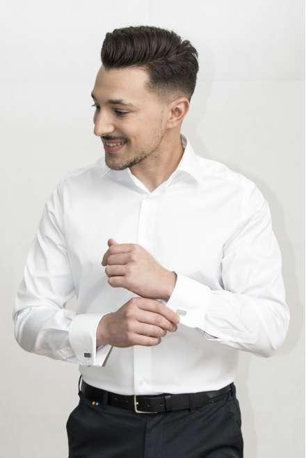 Camisa vestir Confort Linecuello clásico puño doble blanco