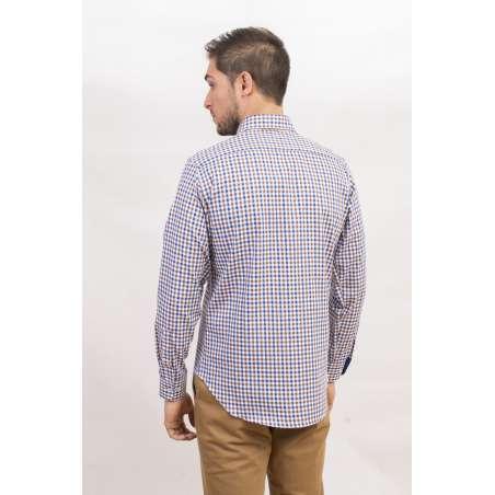 Camisa cuadro vichy azul/marrón