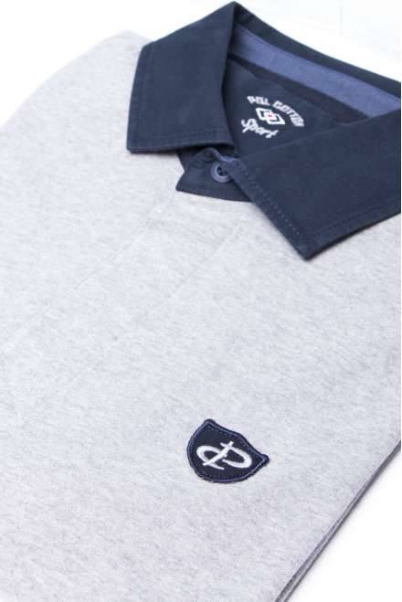 Polo gris combinado oxford