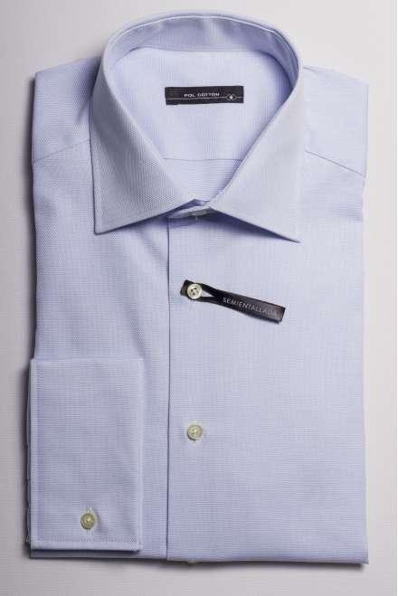 camisa cuello regular puño doble simulado microdibujo