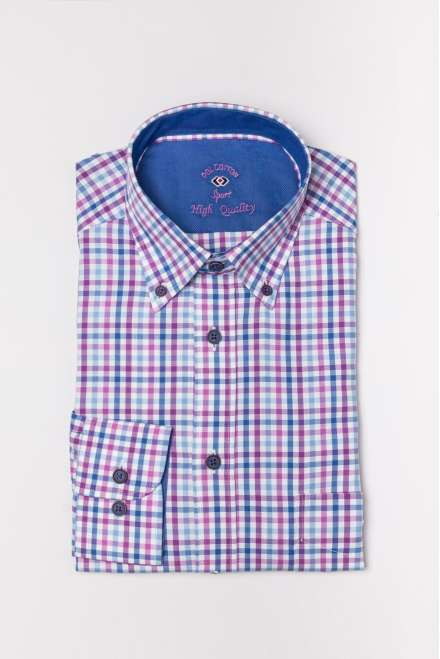 Camisa new royal azul y malva