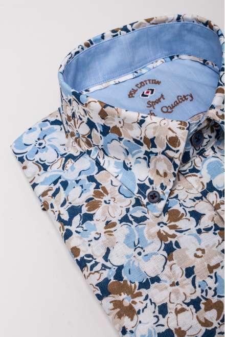 Camisa flores grandes sin bolsillo