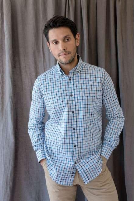 Camisa button down cuadro azul