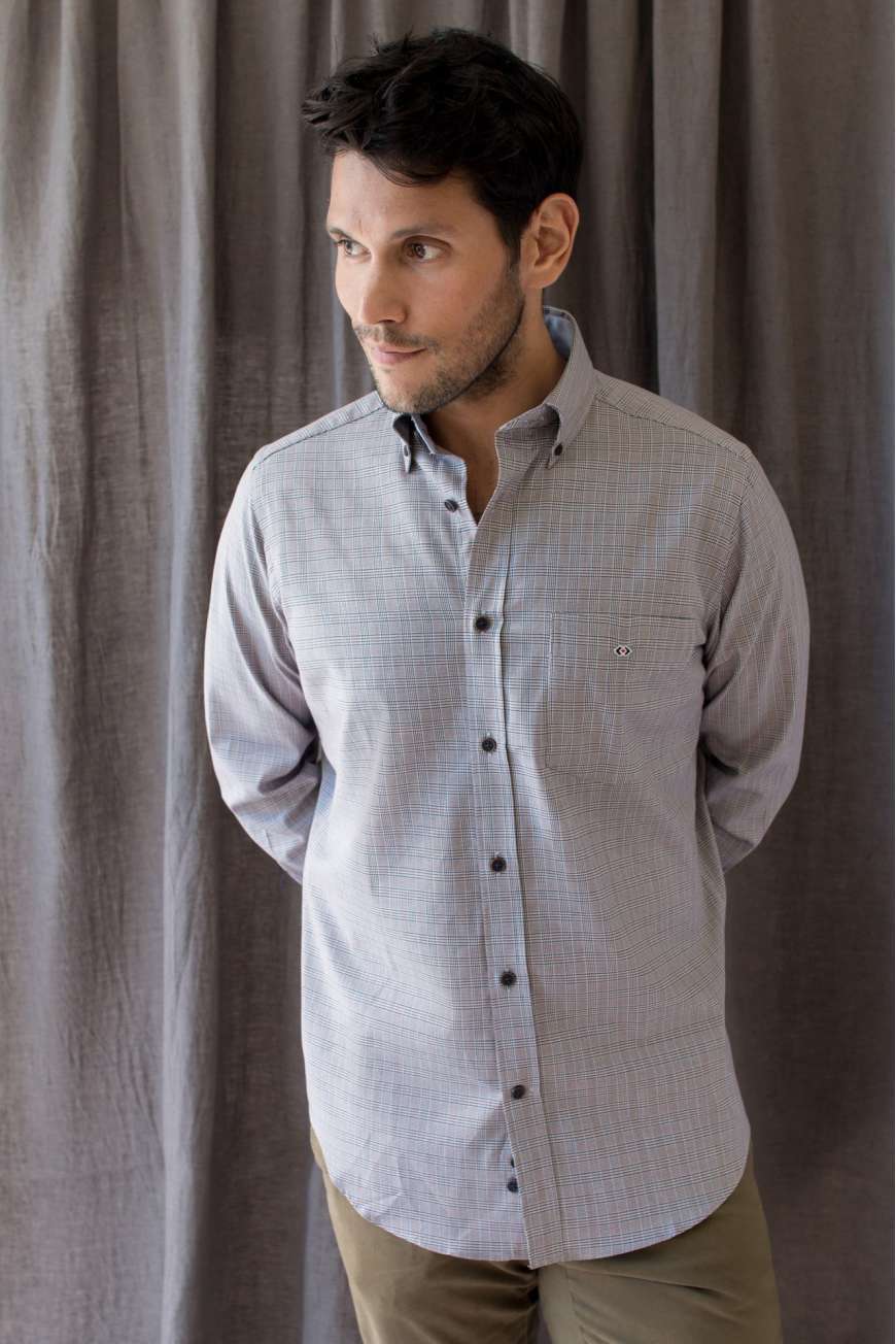 Camisa button down cuadro gales gris