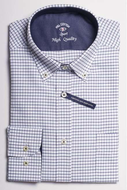 camisa oxford cuadro azul marino