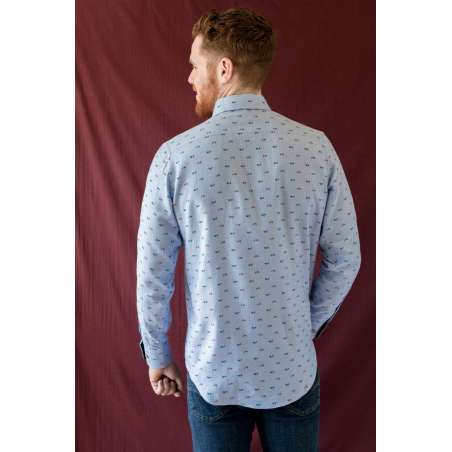 Camisa button down vespas azul