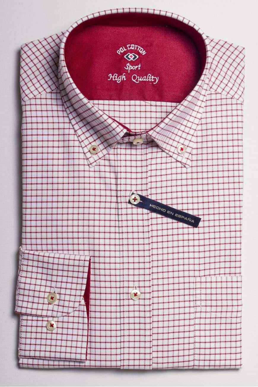 camisa oxford cuadro rojo