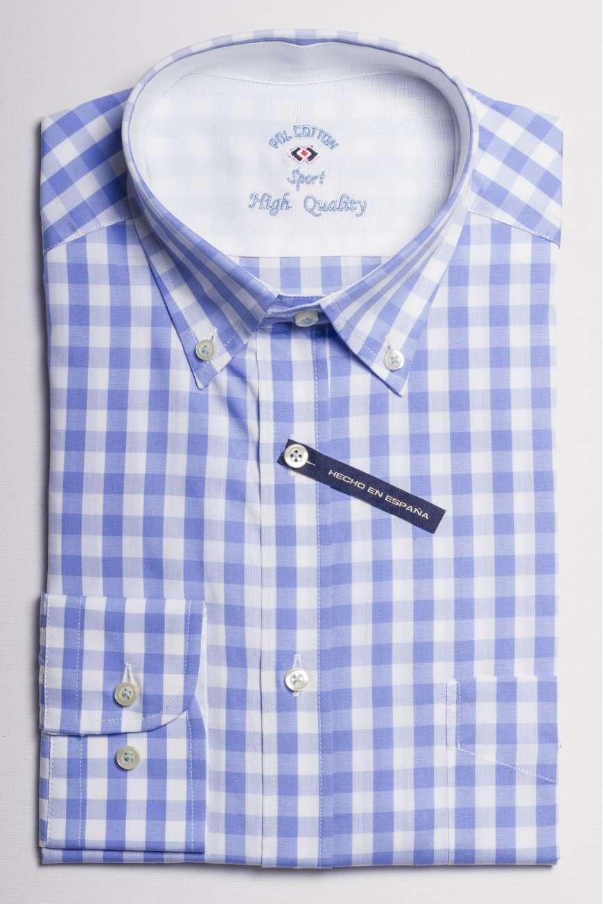 camisa popelin cuadro azul cielo