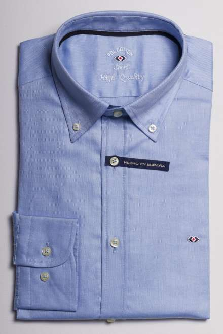 camisa oxford azul claro